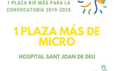 1 PLAZA BIR EXTRA EN CONVOCATORIA 2019-2020