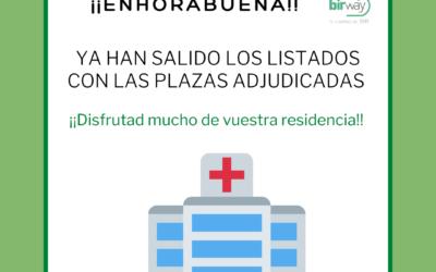 Disponibles los listados de plazas adjudicadas BIR 2021